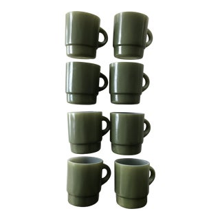 Mid-Century Anchor Hocking Fire King Avocado Green Stackable Mugs/Cups - Sets of 2 For Sale