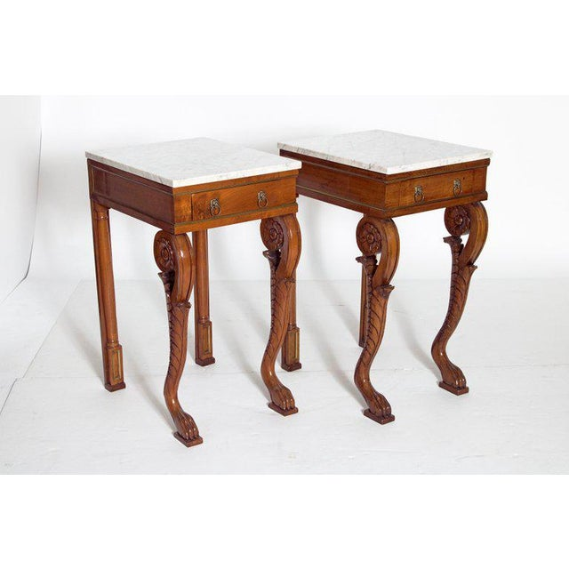 A Pair of Charles X Style Mahogany Tables With White Marble Tops For Sale - Image 4 of 13