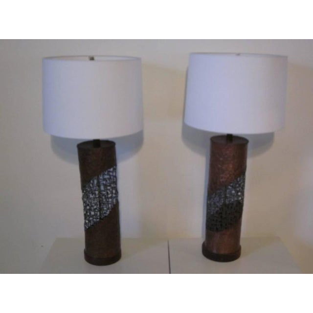 Metal Fantoni Brutalist Torch Cut Lamps for Raymor - a pair For Sale - Image 7 of 7