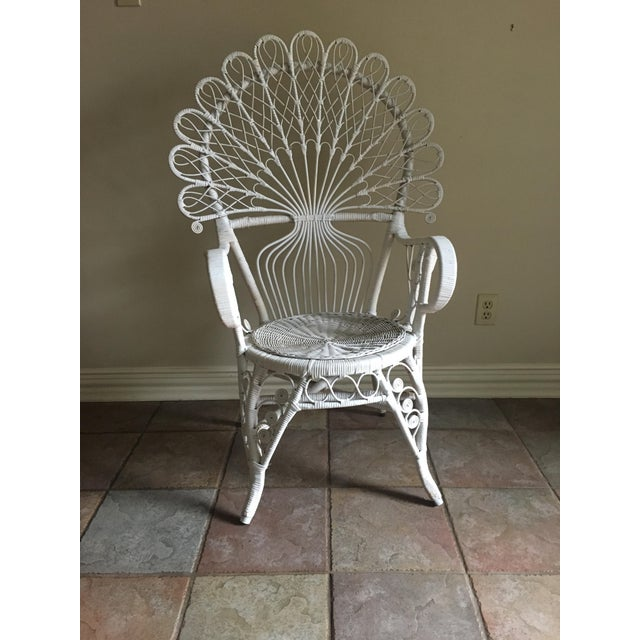 Art Nouveau White Wicker Peacock Chair For Sale - Image 3 of 6