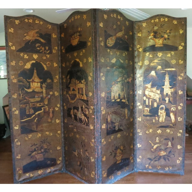 Gold 19th Century Antique Leather Screen Embossed and Gilded For Sale - Image 8 of 8