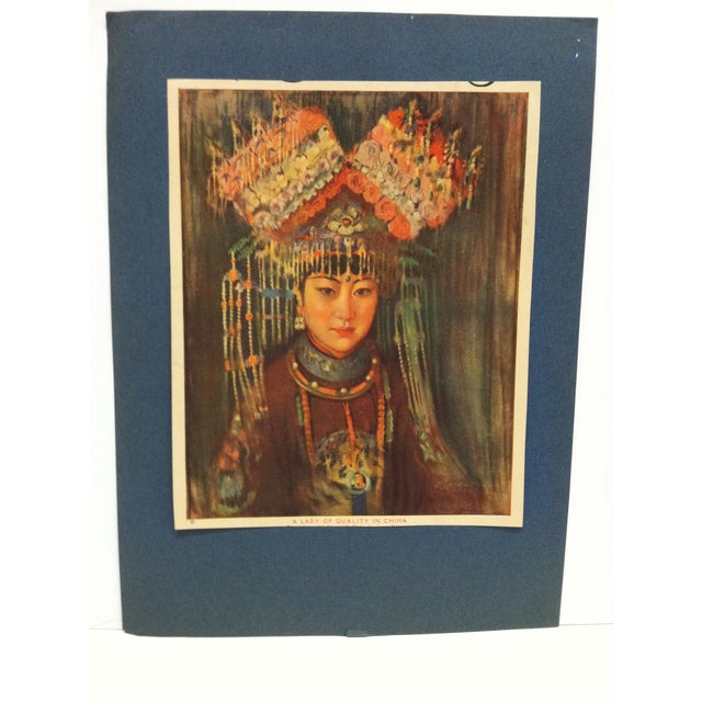 """This is a Mounted Vintage Print that is titled """"A Lady of Quality in China"""" - The Artist is Unknown. The Print dates from..."""