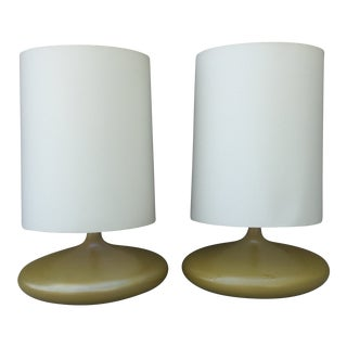 1960s Art Deco Lime Green Ceramic Table Lamps - a Pair