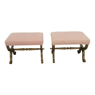 1970s Vintage Hollywood Regency Vanity Ottomans- A Pair For Sale