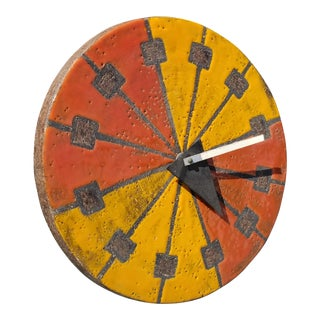 Howard Miller Italian Bitossi Ceramic Wall Clock For Sale