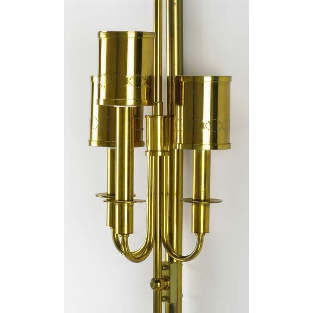 Three Light Pole Lamp With Polished & Pierced Brass Shades - Image 6 of 7