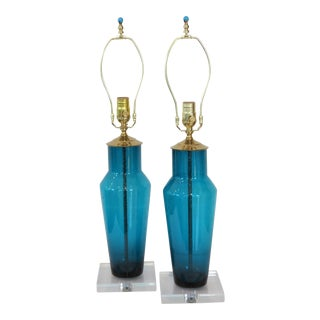 Limited Edition Glass Lamps in Bright Turquoise by C. Damien Fox 2018