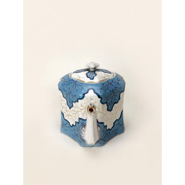 Traditional Rs Prussia Blue & White Angle Teapot For Sale - Image 3 of 7