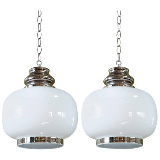 Pair of European Hand-Blown Milk Glass Pendants For Sale