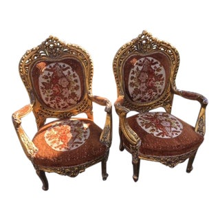 Antique Elegant Fauteuil Style Gilt Chairs - a Pair For Sale