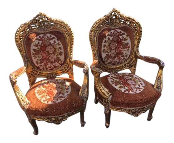 Early 20th Century Antique Gilt Chairs   A Pair