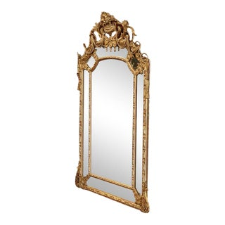 Mid-19th Century French Louis XV Carved Goldleaf Mirror For Sale