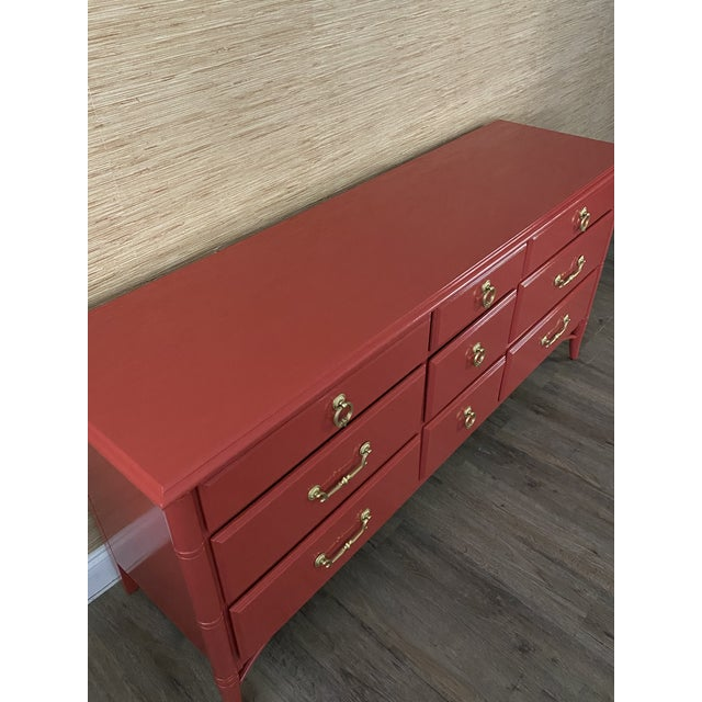 Thomasville Vintage Thomasville Faux Bamboo Red 9 Drawer Dresser For Sale - Image 4 of 8