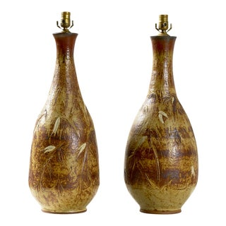 Pair of Large Pottery Lamps by Noted Wisconsin Artist Abe Cohn For Sale