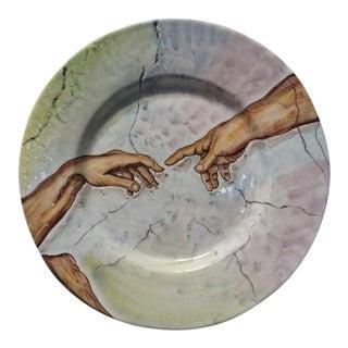 Italian Michelangelo Art Pottery Platter Wall Hanging Plate For Sale