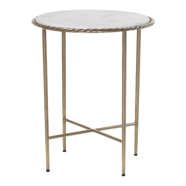 Antique Marble Top & Brass End Table For Sale