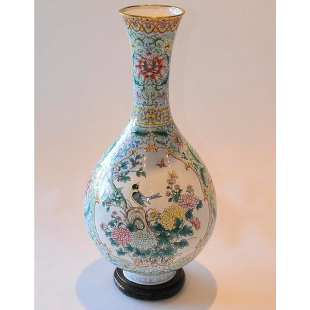 Vintage Chinese Enamel Vase, Flora & Fauna Details For Sale In San Francisco - Image 6 of 11