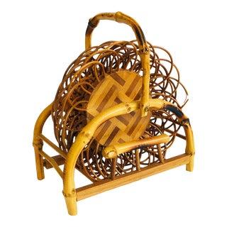 Vintage Wicker Coaster Set - Set of 5 in Holder For Sale