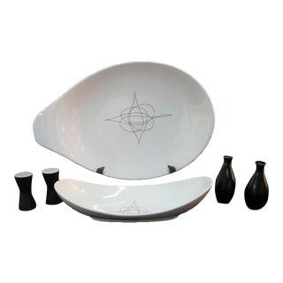 Eva Zeisel Hallcraft Mid-Century Modern Atomic Platter Salt Pepper Serving Set - 6 Piece Set For Sale