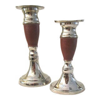 Stitched Leather Wrapped Candleholders - a Pair For Sale