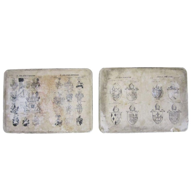 Printed Crests Stone Blocks - Set of Two For Sale