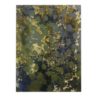 "Carol Bennett ""Fish Skin Study"" Cobolt, Gold Leaf Reverse Oil Painting on Glass For Sale"
