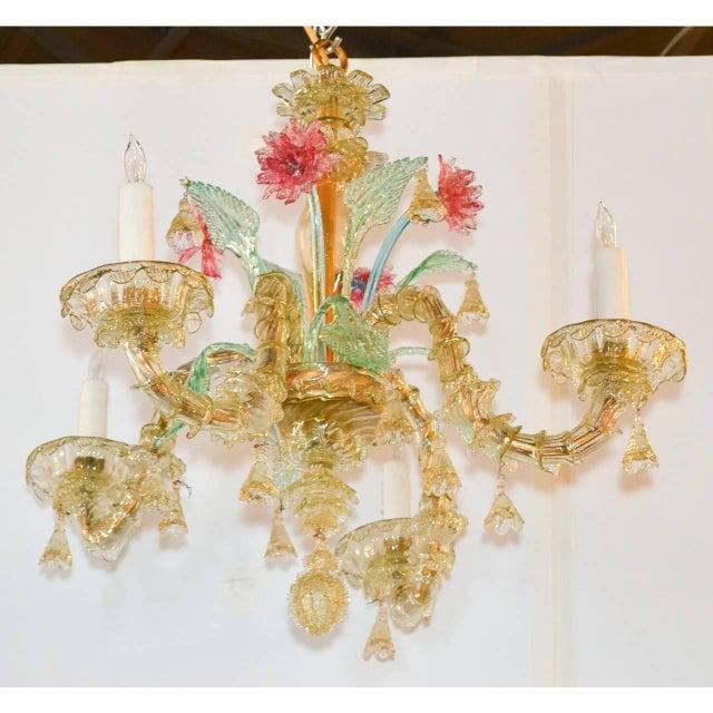 Antique Italian Murano Multi-Color Chandelier For Sale - Image 4 of 7