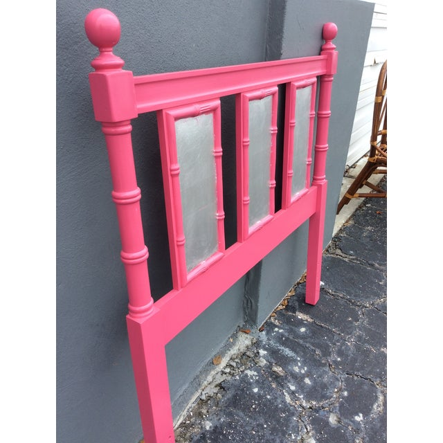Wood 20th Century Hollywood Regency Hot Pink Lacquered Twin Headboard With Silver Leaf For Sale - Image 7 of 13