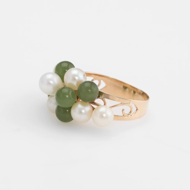 Vintage Jade Cultured Pearl Ring 14 Karat Yellow Gold Estate Fine Jewelry For Sale - Image 4 of 8