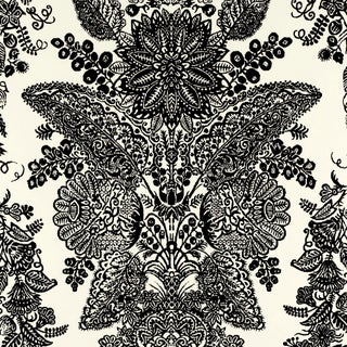 Sample - Schumacher Lace Wallpaper in Black & Ivory Preview