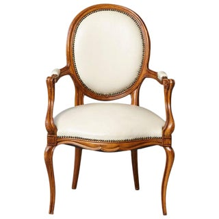 Louis XV Style Walnut Fauteuil in Nail Trimmed Creme Leather For Sale