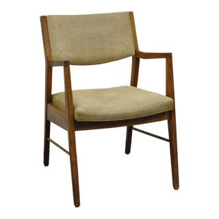 Vintage Mid Century Modern Walnut Office Desk Arm Chair Danish Style Gunlocke For Sale