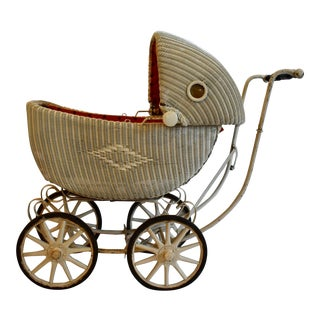 Vintage Cartoy Wicker Baby/Doll Carriage For Sale