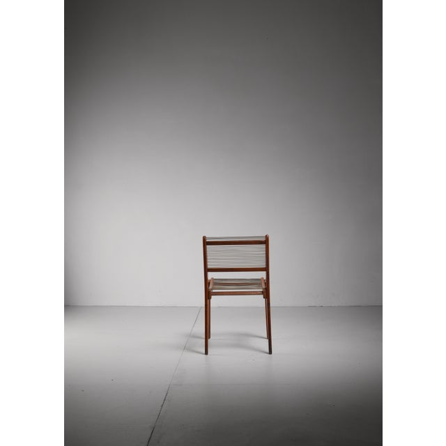 Elegant Studio Crafted Side Chair with a Woven String Seating, USA For Sale - Image 6 of 6