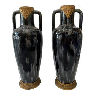 Art Deco Style Glazed Pottery Vases - a Pair For Sale