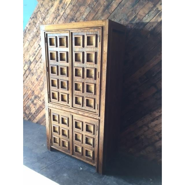 Vintage Wood and Cork Brutalist Armoire - Image 8 of 9