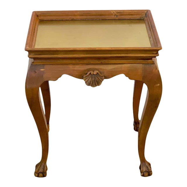 Diminutive Bleached Wood & Brass Side Table For Sale