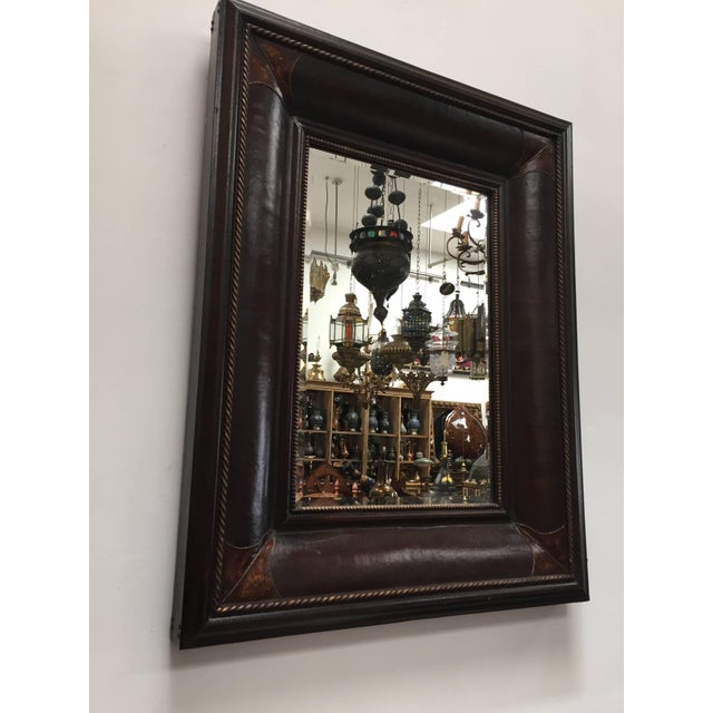 Leather Wrapped Mirrors, Pair For Sale - Image 4 of 11