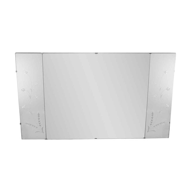 Vintage Floral Etched Wall Mirror For Sale