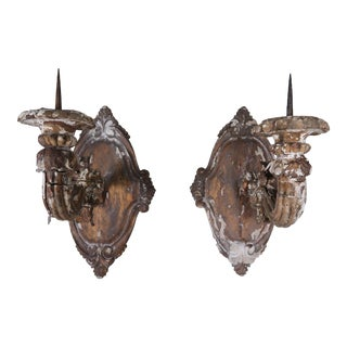 Pair of 19th Century Italian Giltwood Candle Sconces For Sale