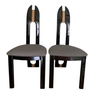 1980s Vintage Pietro Costantini for Ello Italian Black Lacquer Dining Chairs - a Pair For Sale