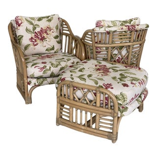 Vintage Coastal Rattan Fretwork Pair Chairs and Ottoman Set-Three Pieces For Sale