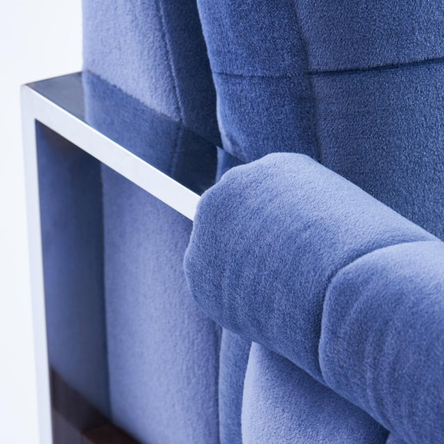 Adrian Pearsall for Craft Associates Mohair, Wood & Chrome Lounge Chair - a Pair For Sale In Chicago - Image 6 of 9