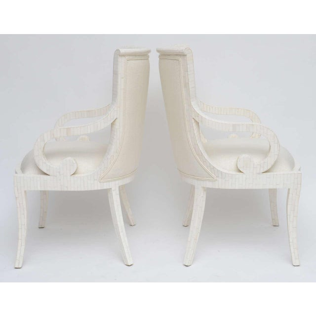 Pair of Tessellated Bone Armchairs With Silk Upholstery For Sale - Image 9 of 10