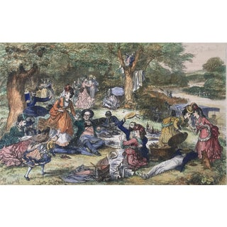 """Hand Colored Engraving """"A Picnic"""" For Sale"""
