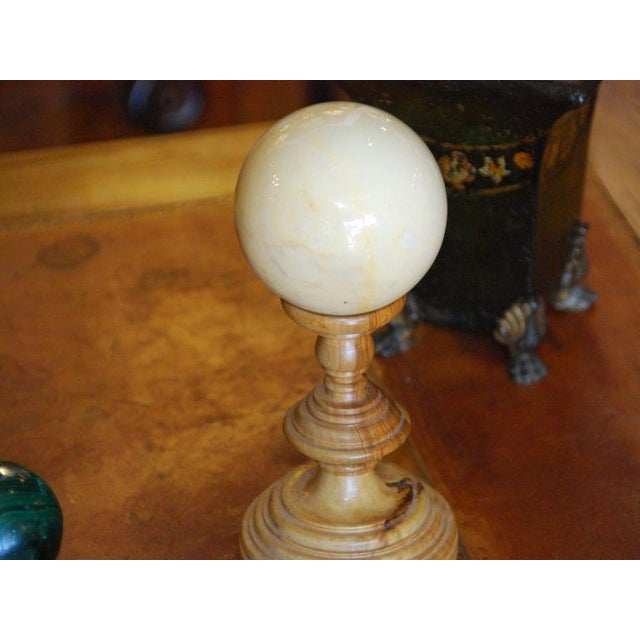 Hollywood Regency Marble Sphere on Wooden Pedestal For Sale - Image 3 of 3