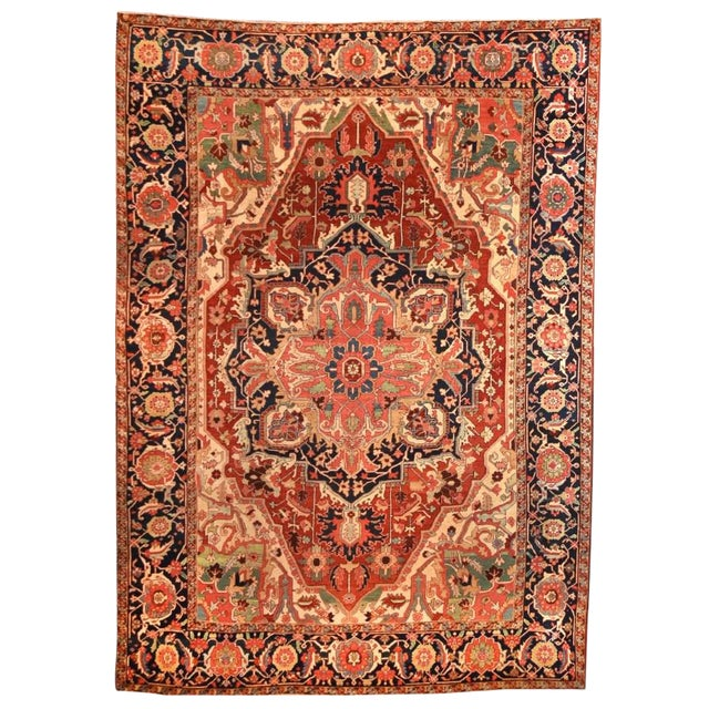 Late 18th Century Antique Persian Rug-9′11″ × 12′10″ For Sale