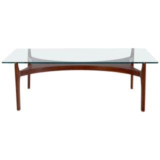 Sculptural Low Profile Teak Base Glass Top Danish Midcentury Coffee Table For Sale