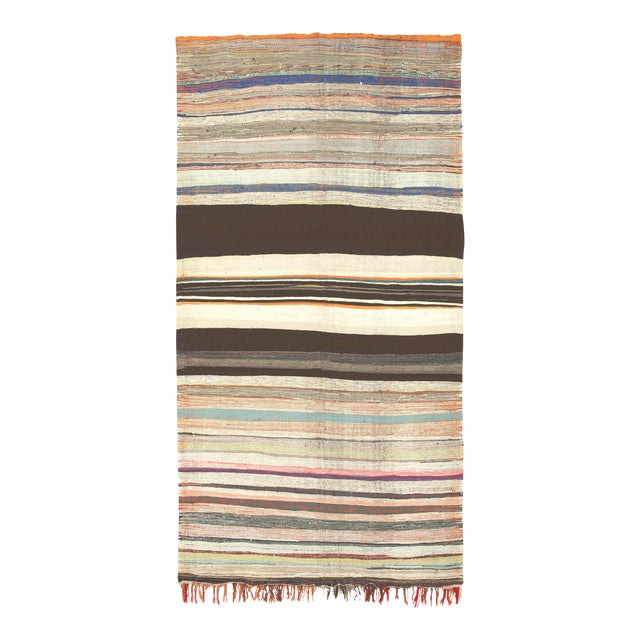 """Mid 20th Century Moroccan Rag Rug -5'7"""" X 10'11"""" For Sale"""