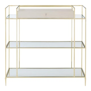 Caracole Contemporary White and Gold Drinks Are on Me Bar Table For Sale